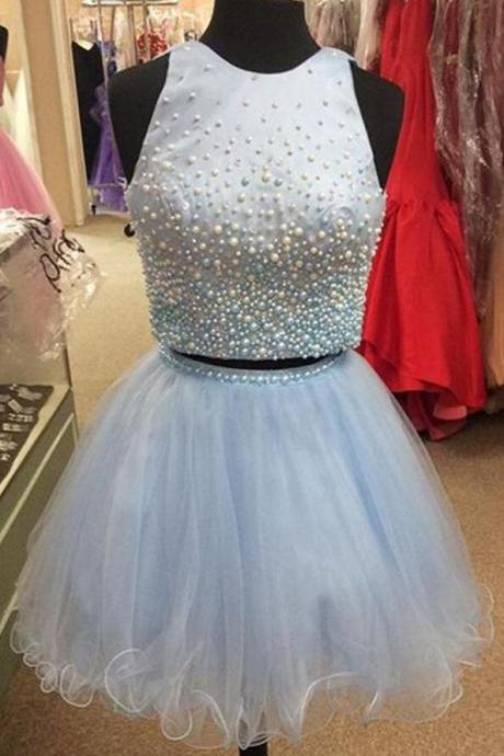Bule Tulle Homecoming Dress,Vintage Two Piece Homecoming Dress, Pearl Beaded Prom Dress Short,Sexy Homecoming Dress, Graduation Dresses,Party Gowns