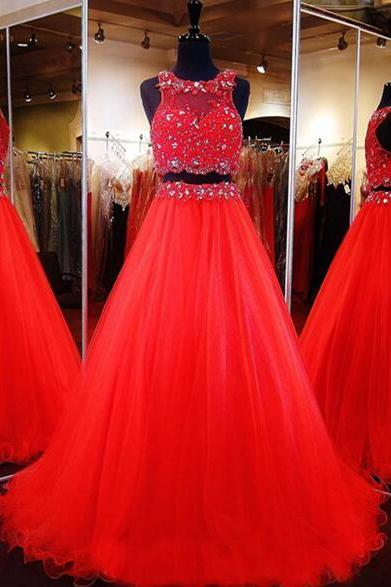 Red 2 Pieces Prom Dress ,Sexy Tulle Evening Gown, Pageant Dress,Cheap Prom Dress, Long Evening Dress , Long Formal Evening Gowns With Split