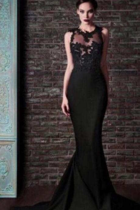 Sexy Open Back Prom Gown,Lace Prom Dress,Mermaid Prom Dress,Black Prom Dress,Sexy Open Back Mermaid Lace Evening Dress