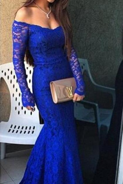 Royal Blue Prom Dress,Long prom Gowns,Lace Evening Dress,Sexy Prom Dress,Prom Dresses With Long Sleeves,Charming Prom Gown,Mermaid Fashion Evening Gowns for Teens