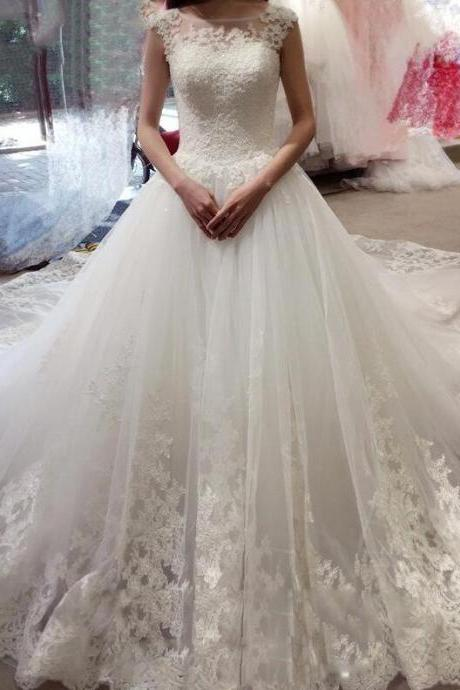 Sleeveless Lace Wedding Dress,Mermaid Wedding Dress ,With Appliques,Cheap Bridal Dress, Princess Wedding Dresses With Court Train, Tulle Wedding Dresses,Wedding Dress