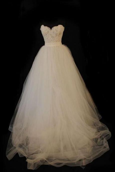 Gorgeous Ivory Wedding Dress, Sweetheart Wedding Dress, Lace and Tulle Wedding Dress, High Quality Wedding Dresses, Bridal Dresses