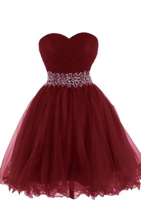 Ball Gown, sweetheart Homecoming Dress, with sash Homecoming Dress, Short Party Dress, Mini Dress Backless prom Dress, Homecoming Dresses
