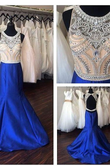 Royal Blue Prom Dress,Mermaid Prom Dresses,Satin Prom Gown,Backless Prom Dresses,Sexy Evening Gowns,Evening Gown,Open Back Party Dress,Satin Formal Gowns For Teens