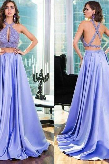 Lavender Two Pieces Prom Dress, Prom Dresses, Keyhole Neck Prom Dress, Sexy Back, Long Evening Dress, Sequin, Beading, Blingbling, Party Gown,Graduation Dress,Sexy Formal Evening Dress, alter Neckline Prom Gowns