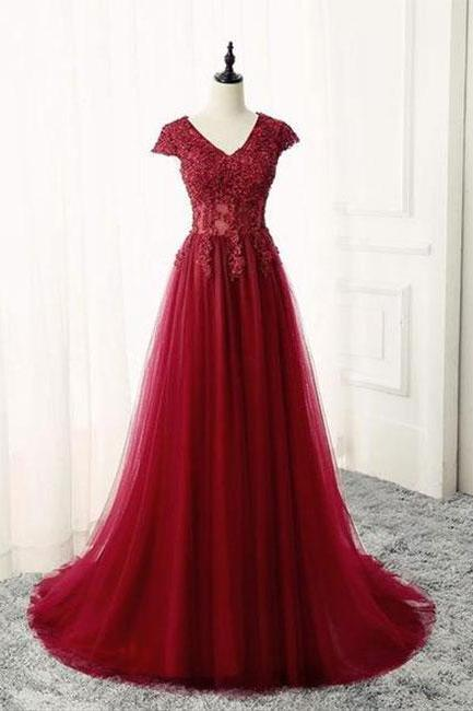 Burgundy v neck lace long prom dress, burgundy evening dress,Appliques Prom Dress,Ruffles Evening Gowns, Formal Wears