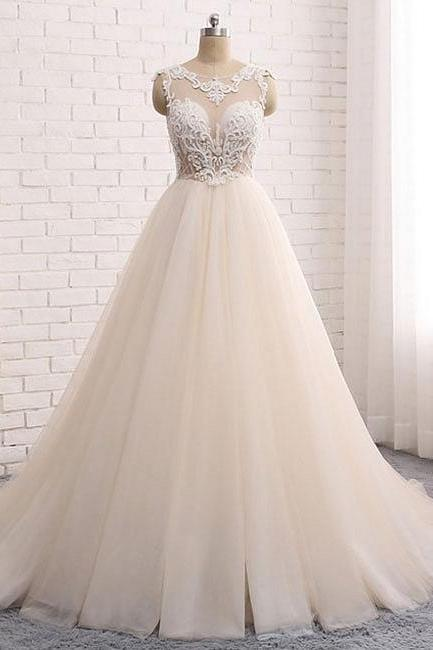 Custom made round neck wedding dresses,lace tulle long prom gown, wedding dress,Appliques Prom Dress,Ruffles Evening Gowns, Formal Wears