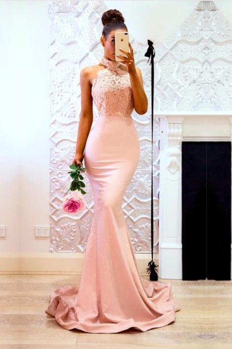Sexy Sleeveless Pink Prom Dress,Mermaid Evening Dress, Appliques Lace Long Prom Dresses