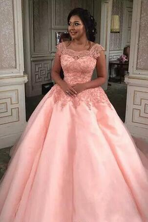 Pink Ball Gown Wedding Dress, Sheer Square Neck Wedding Dresses,Lace Appliques Wedding Dresses,Tulle Bridal Gowns, Lace-up Back Custom Made Bridal Dresses