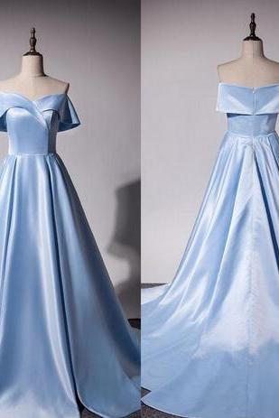 Light Blue Off-the-Shoulder Prom Dresses,A-line Long Evening Dress, Prom Dress, Prom Gowns, Formal Women Dress,prom dress