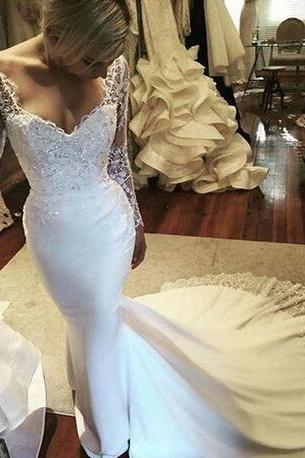 Amazing V Neck Illusion Wedding Dress,Long Sleeve Wedding Dresses ,Lace Crystals Beaded Wedding Dresses,Mermaid Bridal Gowns, Sweep Train Wedding Gowns