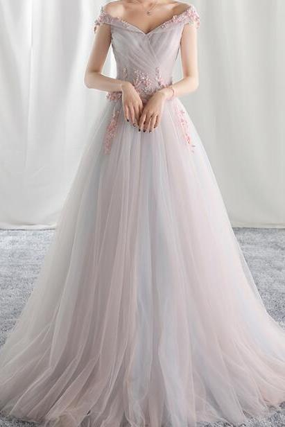 Elegant Prom Dress,A-line Off Shoulder Evening Dress Prom Dresses, Tulle Formal Dress Prom Gown , Prom Gowns, Formal Women Dress,prom dress