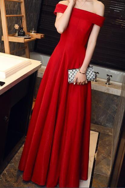 Elegant Prom Dress,Strapless Evening Dress Prom Dresses, Red Satin Long Formal Dress Prom Gown