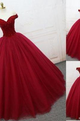 Charming Burgundy Ball Gown Prom Dress, Elegant Tulle Quinceanera Dresses, Sweet 16 Dresses