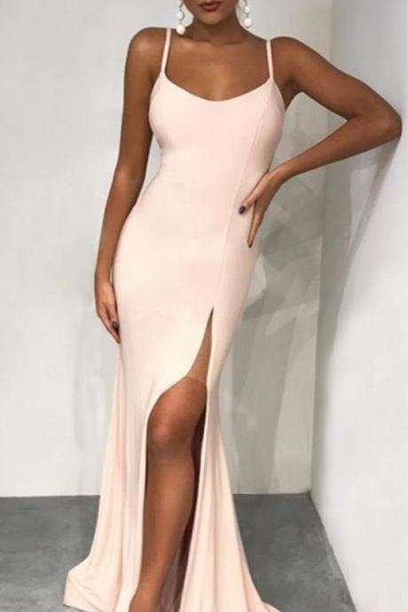 Charming Prom Dress, Sexy Straps Prom Dresses with Slit, Mermaid Evening Dress , Prom Gowns, Formal Women Dress,prom dress