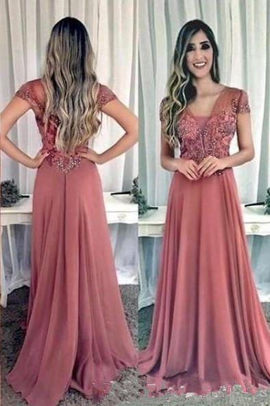 Cap Sleeve Appliques Long Evening Dress, Chiffon Formal Prom Dresses ,Evening Dress, Prom Gowns, Formal Women Dress,prom dress