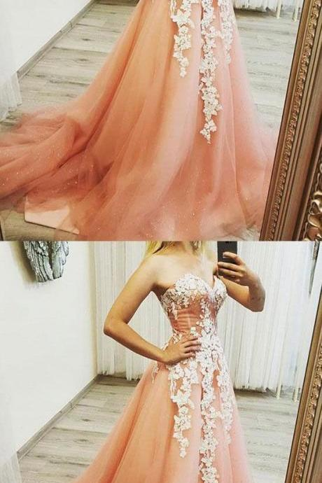 Elegant Tulle Prom Dress with Appliques, Long Evening Dress ,Evening Dress, Prom Gowns, Formal Women Dress,prom dress