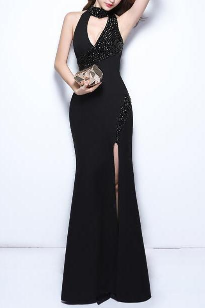 Black Prom Dress, Mermaid High Neck Evening Dress Prom Dresses, Satin Long Formal Dress Prom Gown