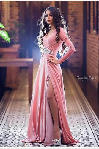 Blush Pink Long Sleeve Prom Dresses ,Deep V Neckline Beads Prom Dress,Side Split Evening Gowns ,Sweep Train Cheap Formal Party Dress