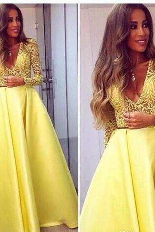 Elegant Yellow Long Sleeves Evening Gowns, V neck Lace Dresses ,Evening Wear Prom Party Dresses, Prom Dress, Prom Gowns, Formal Women Dress,prom dress