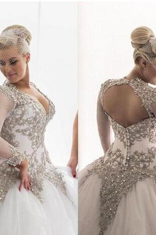 Modest Long Sleeves Wedding Dresses, Rhinestones Crystals Wedding Dress,Beaded Bridal Gowns ,Backless Sheer Ball Gown ,Wedding Dresses Plus Size