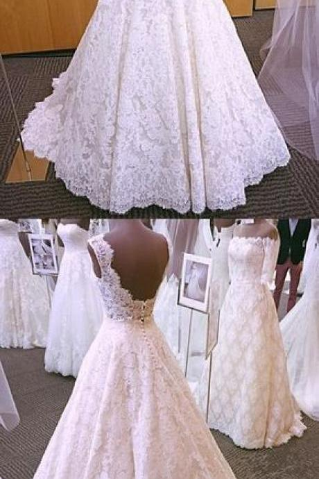 Lace Wedding Dress,A-Line Wedding Dresses, Vintage Formal Bride Dresses