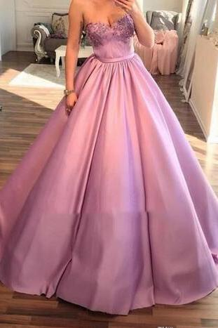 Sweetheart Satin Floor Length Prom Dresses,Applique Cheap Evening Gowns ,Plus Size Formal Dress ,Party Evening Dress
