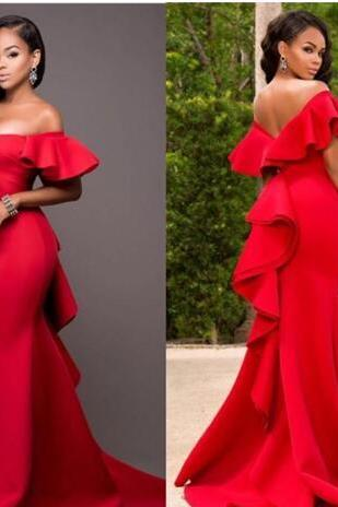 Gorgeous Red Off Shoulder Prom Dress,Satin Backless Mermaid Evening Gowns,Saudi Arabia Ruched Sweep Train Formal Party Dress