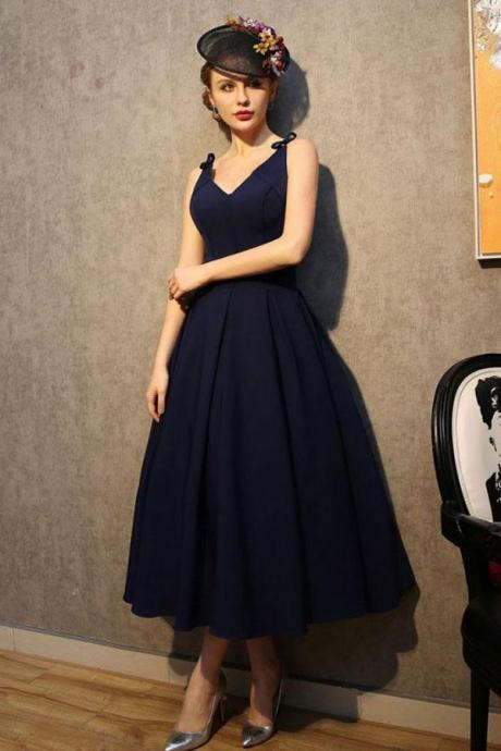 Vintage V Neck Nave Blue Satin Homecoming Dresses Party Dresses