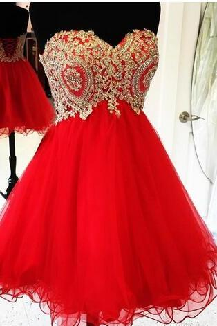 Gold Lace Appliques Homecoming Dress,Short Red Homecoming Dresses ,Cocktail Party Dresses Ruffles Tulle Short Prom Dresses, Short Homecoming Dresses