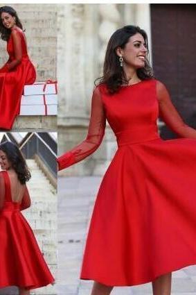 Sheer Long Sleeves Red Homecoming Dress,A Line Jewel Neck Backless Homecoming Dress,Tea Length Cocktail Dresses, Mother Formal Gowns Cheap