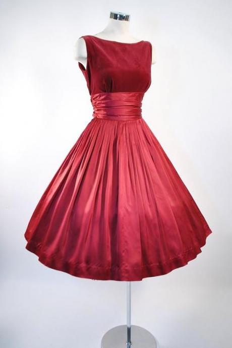 Vintage Prom Dress, Red Prom Gowns, Mini Short Homecoming Dress, Short Homecoming Dresses
