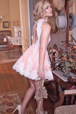 A Line Lace Light Pink Homecoming Dress,Mini Short Prom Dresses, Sleeveless Party Dress Gowns, Vestidos, Short Homecoming Dresses