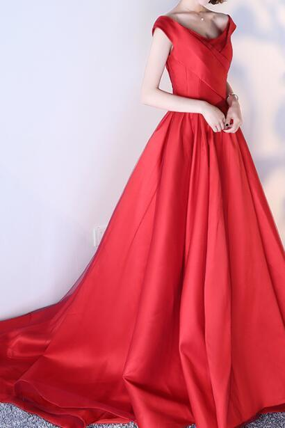 Red V-neck Evening Dress, Prom Dresses, Lace Up Satin Formal Dress, Prom Gown