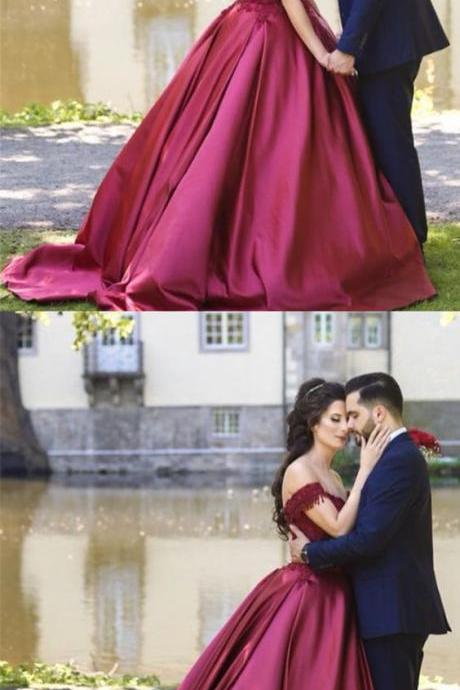 Burgundy Lace V-neck Wedding Dress,Off The Shoulder Satin Ball Gowns,Wedding Dresses, Quinceanera Dresses