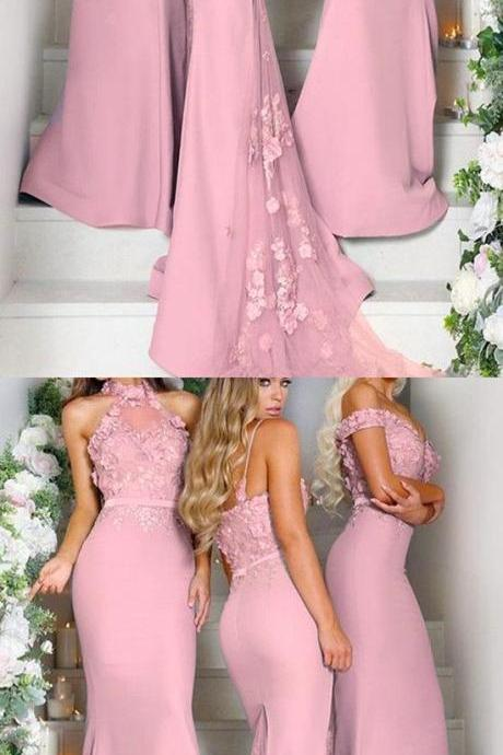 Pink Bridesmaid Dress,Bridesmaid Dresses,Long Bridesmaid Dresses,Mermaid Bridesmaid Gowns