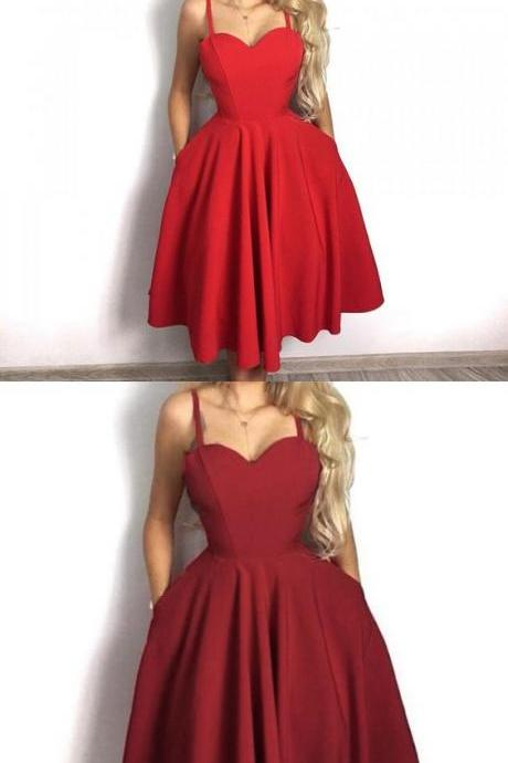 A-Line Spaghetti Straps Red Homecoming Dress with Pockets