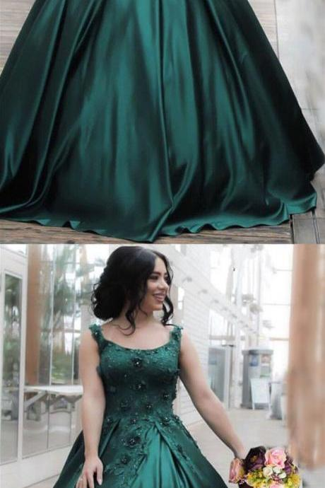 Hunter Green Lace Evening Dresses,Flowers Embroidery Satin Ball Gowns, Floor Length Engagement Dress,Formal Dresses,Applique Evening Dress