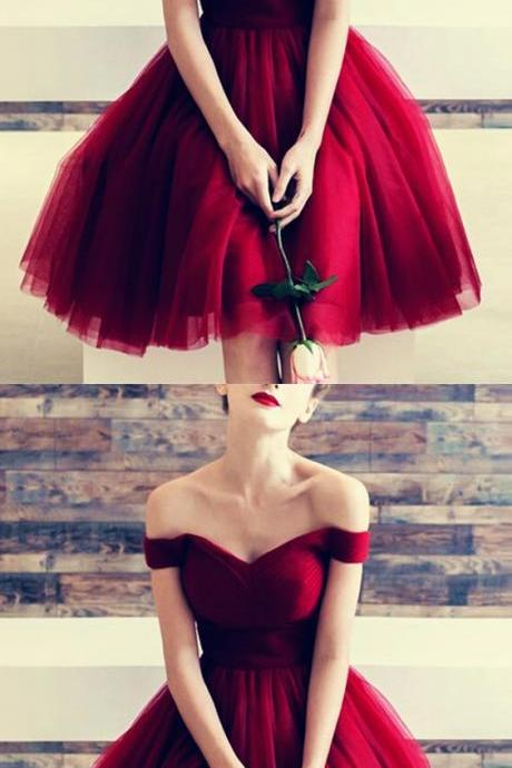 Burgundy Tulle V-neck Off The Shoulder Bridesmaid Dresses Knee Length Prom Cocktail Dress