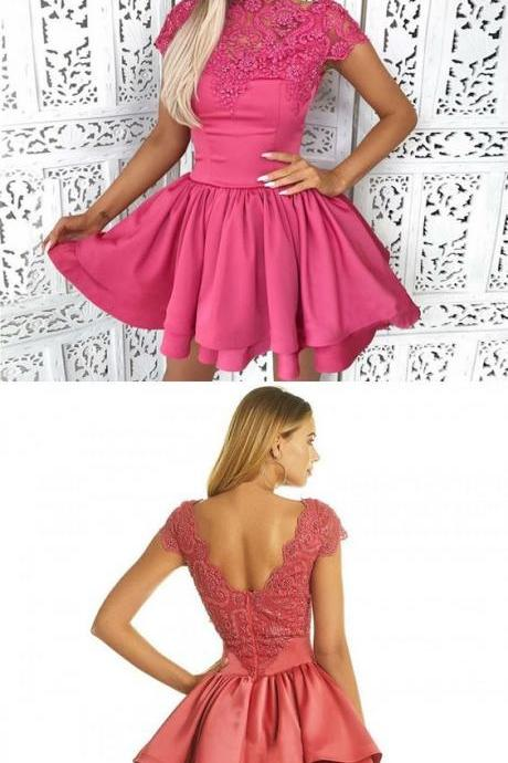 A-Line Bateau Cap Sleeves Fuchsia Homecoming Dress with Lace