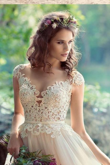Tulle Wedding Dress, Sexy Appliques Wedding Dresses, Sexy Bridal Dresses