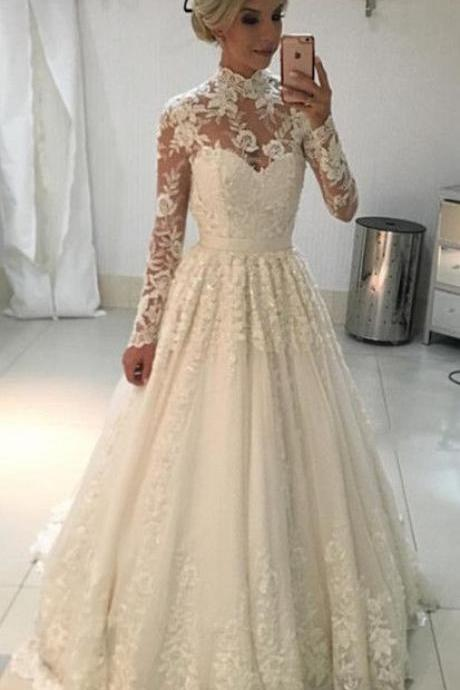 A-line High Neck Wedding Dress,Long Sleeves Lace Wedding Dresses ,Floor Length Bridal Gowns