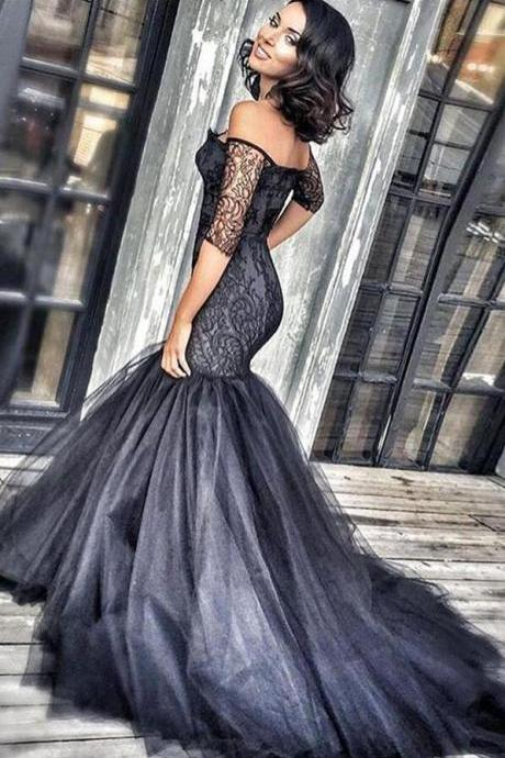 Black prom dresses, Sexy Prom Dress,Tulle Prom Dress,mermaid lace long evening dresses,black lace off shoulder formal dress,fashion dress for girls