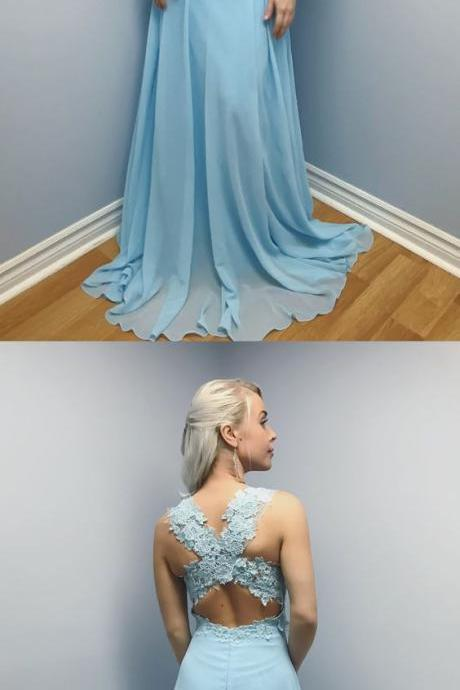 Lace Prom Dress,blue prom dress,chiffon long prom dress, sexy prom dress,long party dress, elegant blue chiffon long prom dress,sexy evening dress