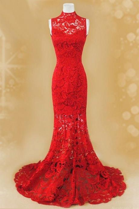Red Lace Prom Dresses, Mermaid Evening Dress ,High Neck Prom Dress