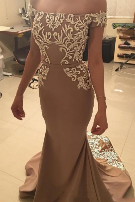 Elegant Off the Shoulder Prom Dress,Satin Mermaid Prom Dresses, Boat Neck Prom Gowns ,Appliques Party Dress,Evening Dress