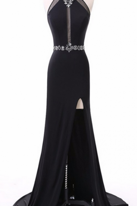 Long Prom Dresses, Chiffon Prom Dresses, Sexy Prom Dresses, Side Split Evening Dresses,