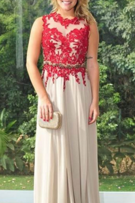 Red Beading Appliques Prom Dress,A-line Chiffon Prom Dresses