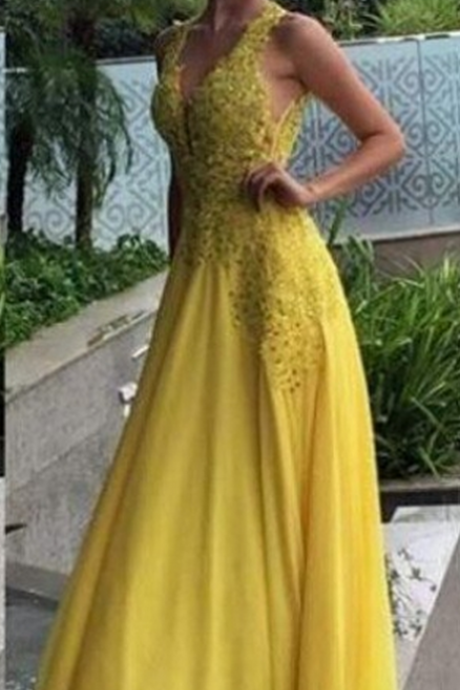 A-Line V-Neck Sleeveless Prom Dress,Natural Zipper Floor-Length Prom Dresses,Chiffon Yellow Prom Dresses