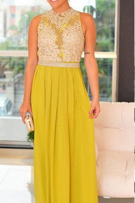 Yellow Sleeveless Natural Prom Dress,Appliques Floor-length A-line Chiffon Prom Dresses,Party Dress